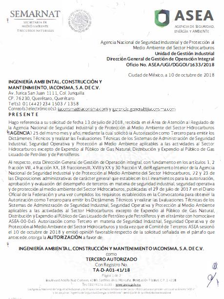 Tercero Autorizado para emitir dictámenes y evaluaciones técnicas que establecen los lineamientos para la conformación, implementación y autorización de los SASISOPA del sector HC TA_D_A01_41-18