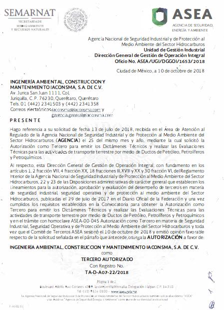 Tercero Autorizado para emitir dictámenes y evaluaciones técnicas que establecen el SASISOPA para el trasporte terrestre por medio de Ductos de Petróleo, Petrolíferos y Petroquímicos TA-D-A07-22-2018