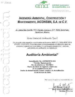 Acreditación Ambiental - NMX-AA-162-SCFl-201