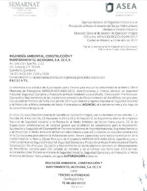Tercero Autorizado para evaluar la conformidad de la Norma Oficial Mexicana de Emergencia NOM-EM-003-ASEA-2016