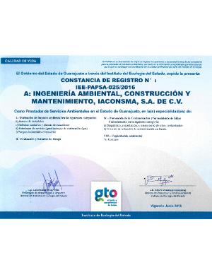 Registro Guanajuato, Prestador de servicios ambientales