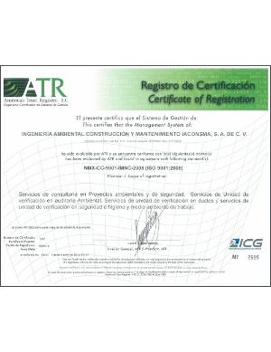 Certificado ISO 9001 ATR IACONSMA