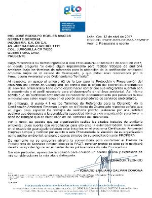 Respuesta Padrón de Prestadores de Servicios Ambientales de la PAOT