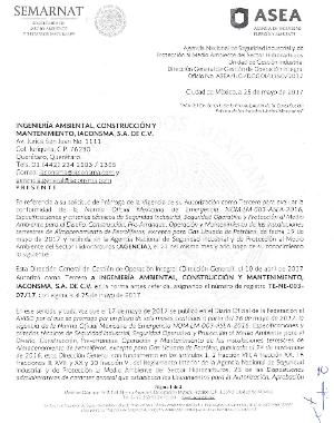 PRÓRROGA DE LA VIGENCIA DE LA AUTORIZACIÓN Tercero Autorizado para evaluar la conformidad de la Norma Oficial Mexicana de Emergencia NOM-EM-003-ASEA-2016