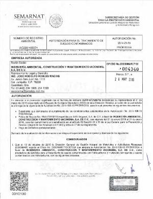 Autorización para el Tratamiento de Suelos Contaminados